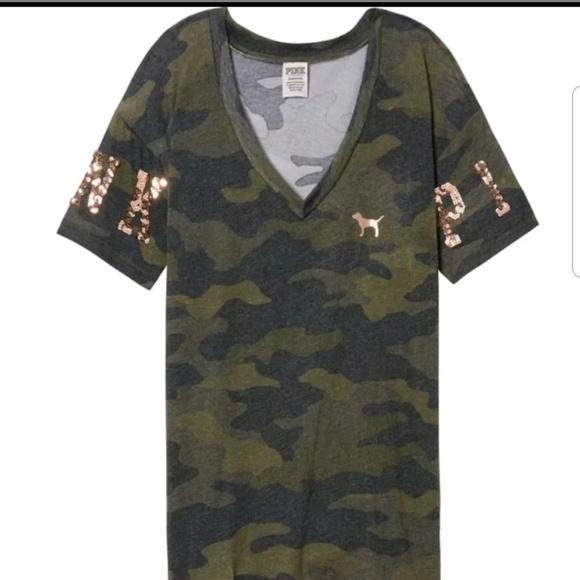 5b1a34f3e2cbe VS PINK Green Camo Camouflage Bling Tee NWT